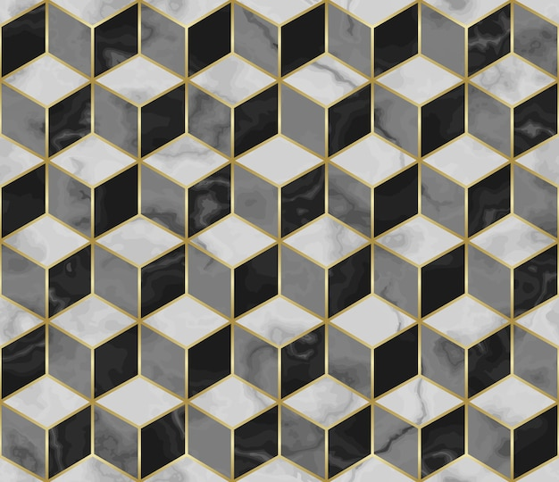 Marble mosaic seamless pattern with cube 3d effect and gold geometric decoration