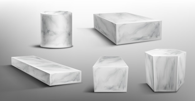 Мраморные пьедесталы или подиум, абстрактные геометрические пустые музейные сцены