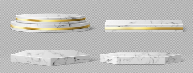 골든 프레임 및 장식이있는 대리석 받침대 또는 연단, 기하학적 빈 스테이지의 원형 및 사각형 테두리, 제품 프레젠테이션 용 석재 전시 디스플레이, 갤러리 플랫폼 현실적인 3d 벡터 세트