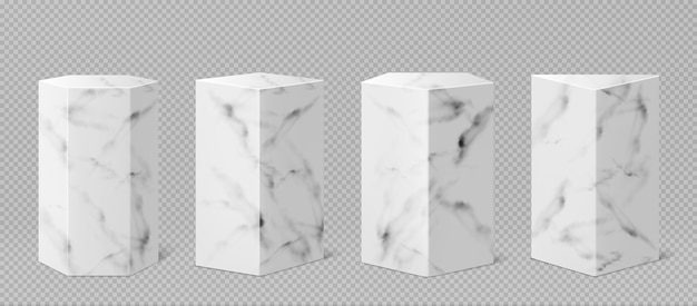 Marble pedestals or podium, abstract geometric empty museum stages