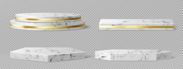 Piedistalli o podi in marmo con cornici e decorazioni dorate, bordi rotondi e quadrati su palchi vuoti geometrici, espositori in pietra per la presentazione del prodotto, piattaforme della galleria insieme realistico di vettore 3d