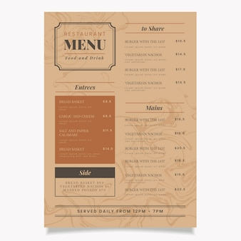 Marble restaurant menu template theme