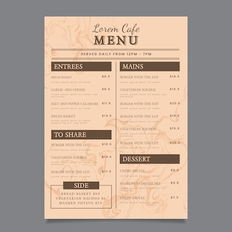 Marble restaurant menu template