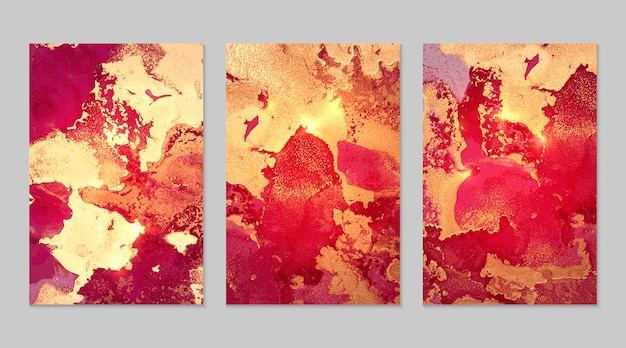 Marble set of fuchsia and gold abstract backgrounds with glitter in alcohol ink technique