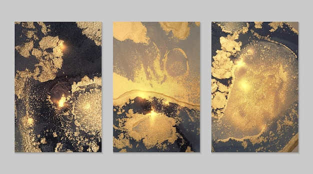 Marble set of gray, black and gold abstract backgrounds with glitter in alcohol ink technique