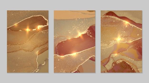 알코올 잉크 기술로 반짝이는 청동 및 금 추상 배경의 대리석 세트