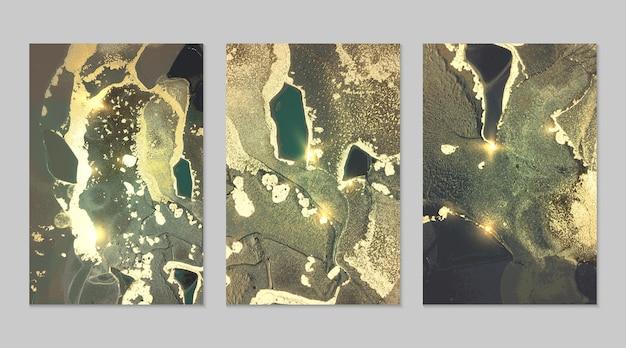 テクスチャーとゴールドとターコイズの背景の大理石のセット。キラキラとジオードパターン。流体アートアルコールインク技術の抽象的なベクトルの背景。バナー、ポスターの輝きを備えたモダンなペイント