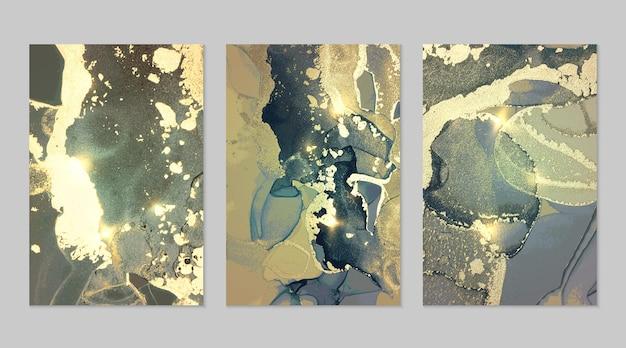 アルコールインク技術でキラキラと緑、ターコイズ、ゴールドの抽象的な背景の大理石のセット