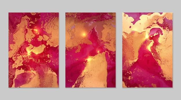 アルコールインク技術でキラキラとマゼンタとゴールドの抽象的な背景の大理石のセット