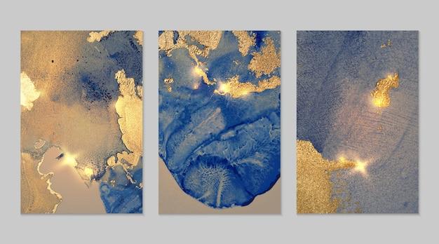 알코올 잉크 기술로 반짝이는 네이비 블루와 골드 추상 배경의 대리석 세트