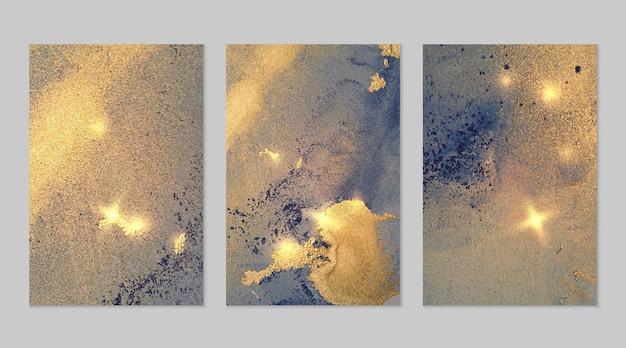 アルコールインク技術でキラキラとネイビーブルーとゴールドの抽象的な背景の大理石のセット