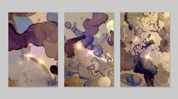 アルコールインク技術でキラキラと紫と金の抽象的な背景の大理石のセット