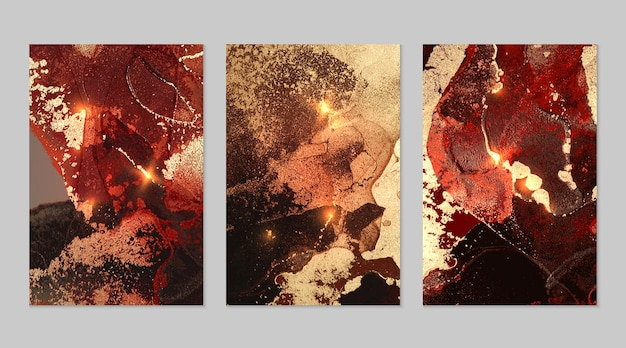 アルコールインク技術でキラキラと赤、黒、金の抽象的な背景の大理石のセット