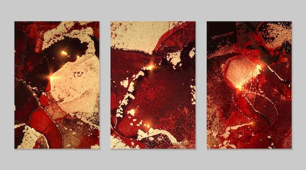 반짝이가 있는 빨간색 검정색과 금색 추상 배경의 대리석 세트