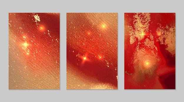 알코올 잉크 기술로 반짝이는 따뜻한 빨간색과 금색 추상 배경의 대리석 세트