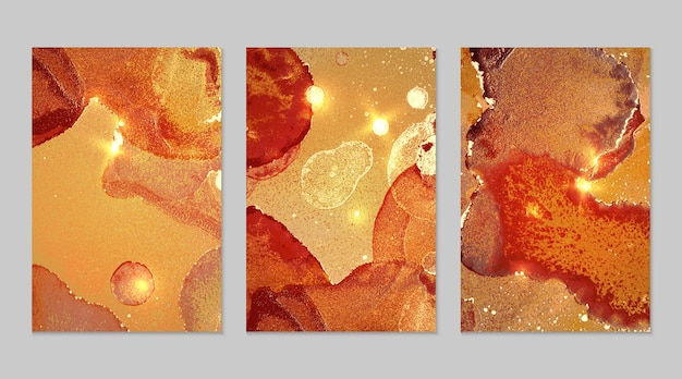 Marble set of orange red and gold abstract backgrounds with glitter in alcohol ink technique