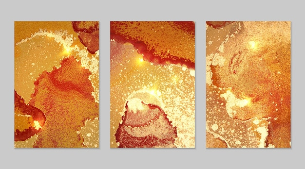 Marble set of orange, red and gold abstract backgrounds with glitter in alcohol ink technique