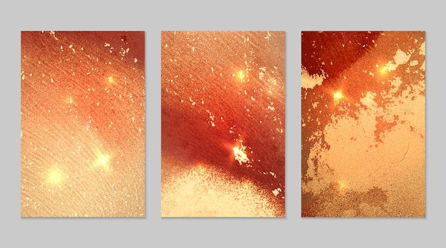 Marble set of red, orange and gold abstract backgrounds with glitter in alcohol ink technique