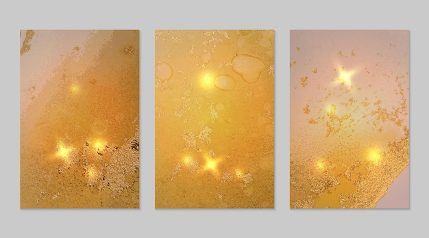 Marble set of yellow and gold abstract backgrounds with glitter in alcohol ink technique