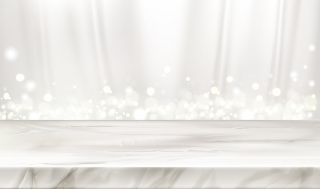 Marble stage or table with white silk curtains and glowing sparkles.
