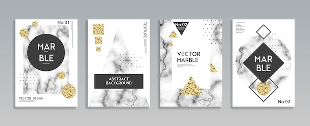 Marble stone texture poster background set