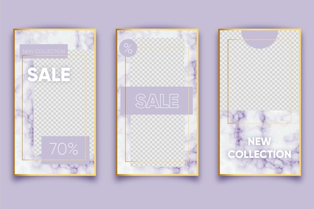 Marble style for selling products on social media stories collection