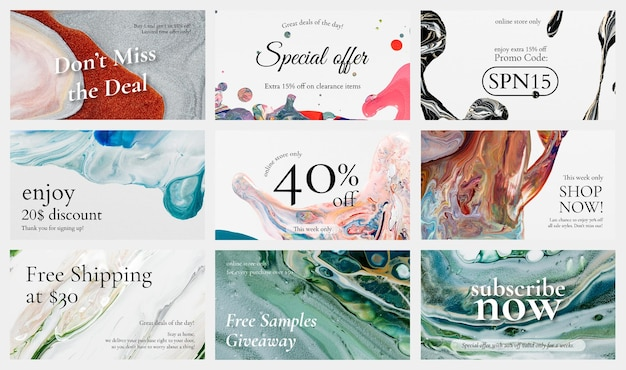 Marble swirl sale template vector for fashion blog banner set