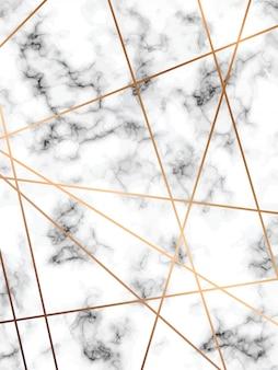 大理石のテクスチャデザイン、金色の幾何学的な線、黒と白の大理石の表面