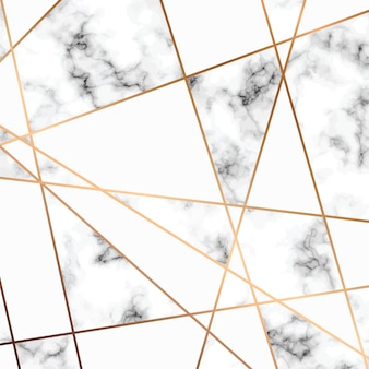 Marble texture design with golden geometric lines, black and white marbling surface