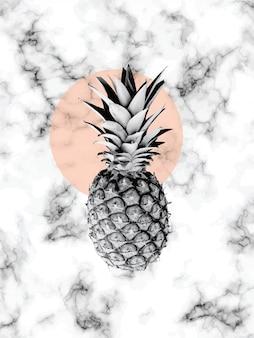 파인애플, 검은 색과 흰색 마블링 표면이있는 대리석 질감 디자인