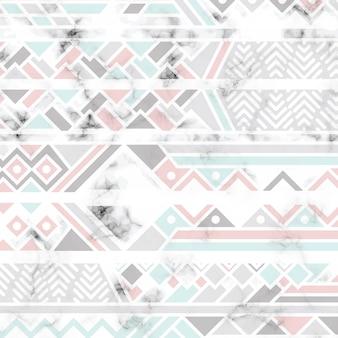 흰색 기하학적 인 선, 검은 색과 흰색 마블링 표면이있는 대리석 질감 디자인
