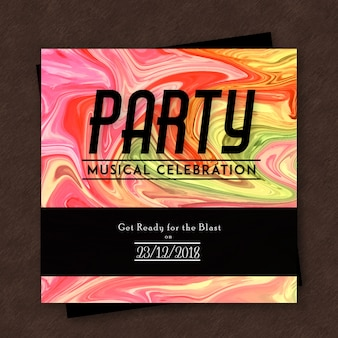 Marble texture party poster template