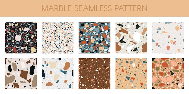 Marble texture seamless pattern. abstract quartz, granite and glass flooring mosaic set