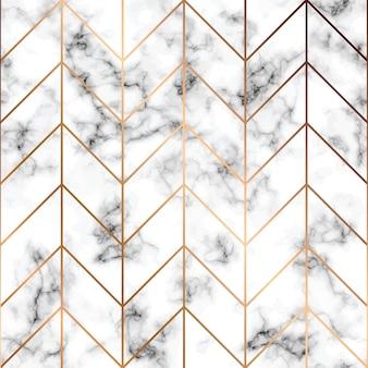 大理石のテクスチャ、金色の幾何学的な線でシームレスなパターンのデザイン