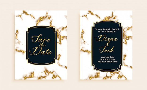 Marble texture wedding invitation card template