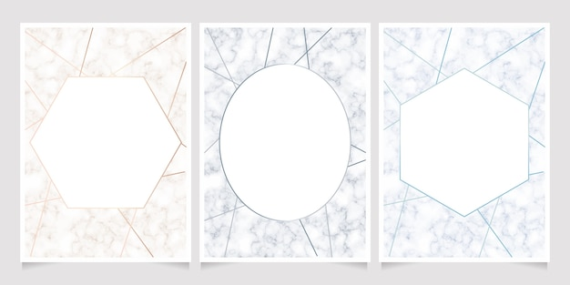 Marble texture with geometric line frame card background