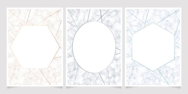 幾何学的なラインフレームカードの背景と大理石のテクスチャ