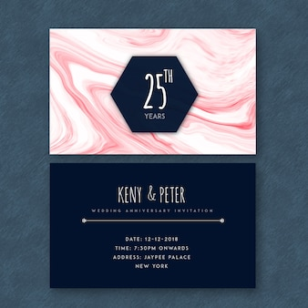 Marble textured 25th wedding anniversary cards