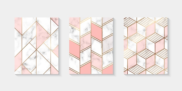Marble textured background collection with golden geometrical line
