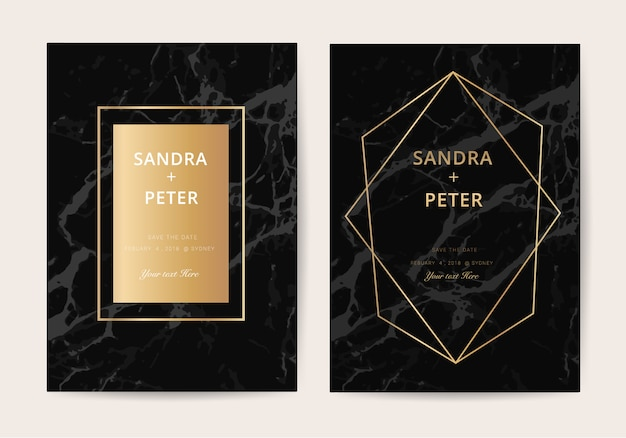 Marble wedding invitation card in luxury style