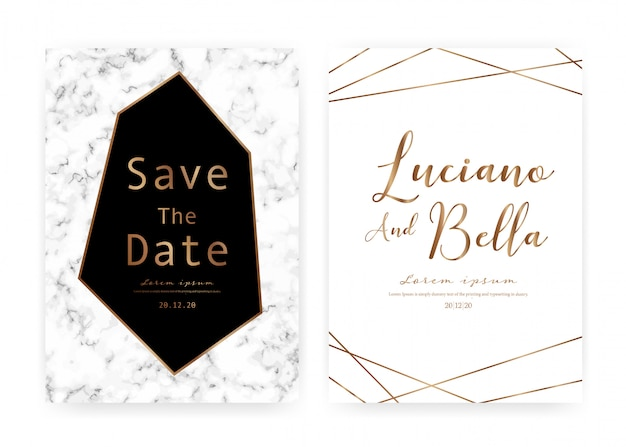 Marble wedding invitation card, save the date wedding card, modern card design with marble texture