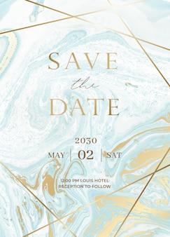 大理石の結婚式の招待カードセット。