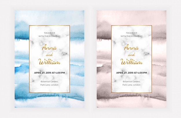 Marble wedding invitation cards with watercolor texture.