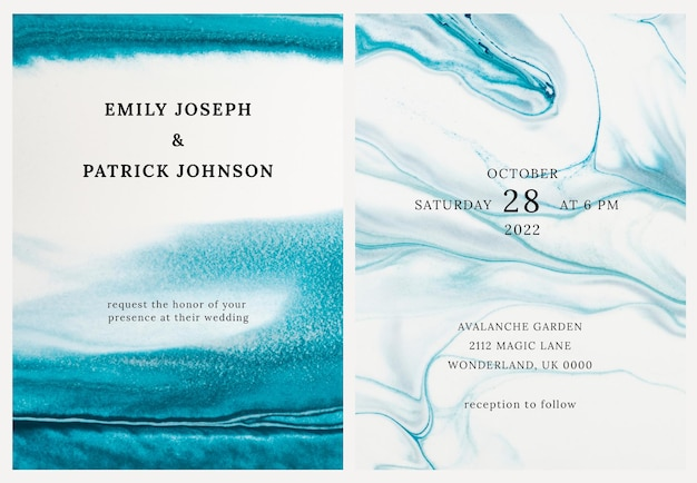 Marble wedding invitation template in aesthetic style