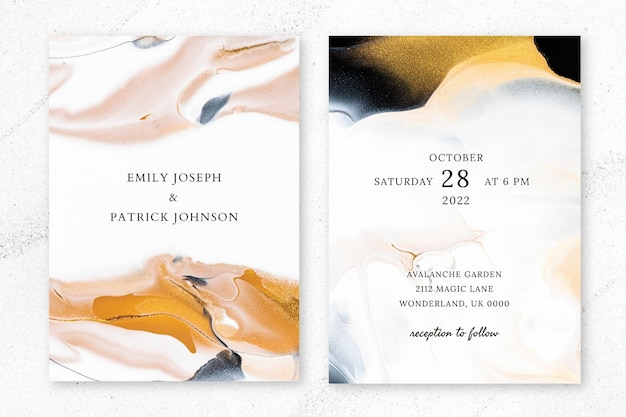 Мраморное свадебное приглашение шаблон вектор в эстетическом стиле