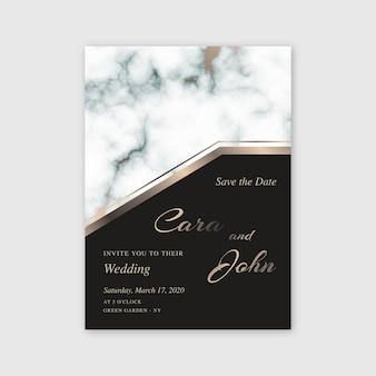 Marble wedding invitation template with golden details