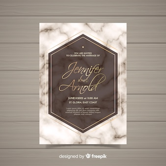 Marble wedding invitation template