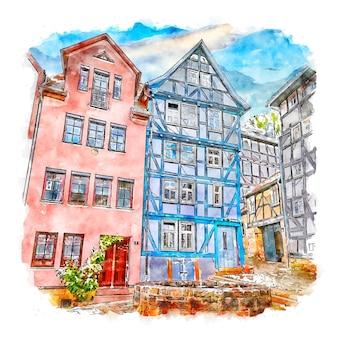 Марбург германия акварельный эскиз рисованной иллюстрации