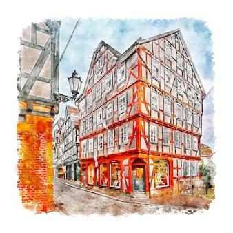 Marburg 독일 수채화 스케치 손으로 그린 그림