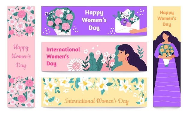 March 8 banners. international womens day, happy woman with flowers banner set.